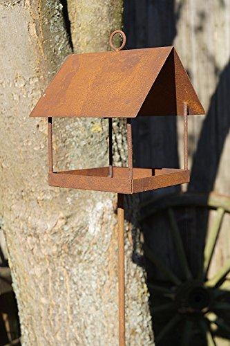Unbekannt Rostalgie Edelrost Vogelhaus auf Stab Futterplatz Gartenstecker Meisenknödel Haus Vögel