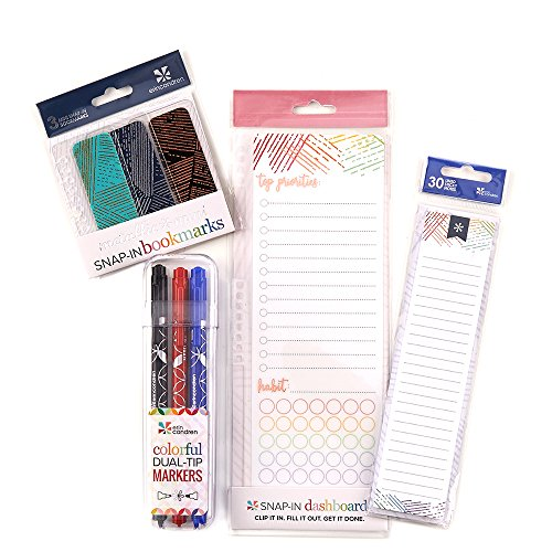Erin Condren Woven Wonder Bundle: Snap - in Dashboard, Stylized Sticky Notepad, Mini Snap - in Bookmarks, Designer Dual Tip Markers with Fine and Medium Tips