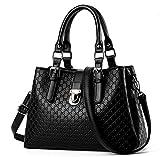 Suyi Women Fashion PU leather Top Handle Vintage Tote Satchel Handbag Shoulder Bag Black