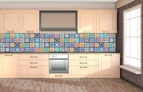 DIMEX LINE Küchenrückwand Folie selbstklebend AZULEJOS 350 x 60 cm | Klebefolie - Dekofolie - Spritzschutz für Küche | Premium QUALITÄT