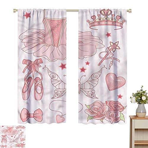 Princess Blackout Curtains in Living Room Kitchen Costume Shoes Tiara Roses Pattern Darkening Curtains W52 x L72 Gifts for Best Friend Woman