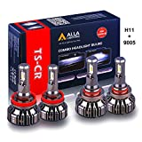 Alla Lighting H11 and 9005 LED Bulb Combo HB3 Forward Lighting + H11 Dipped Beam Replacement Xtreme Super Bright Conversion Kits, 6000K Xenon White