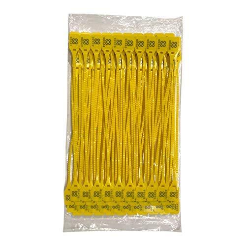 DOJA BARCELONA | Precintos de Seguridad de Plastico Amarillos | 100 unidades | 36cm de Largo | Bridas numeradas para maleta, cajas, contenedores, puertas, bolsas, camion, logistica entre otros usos.