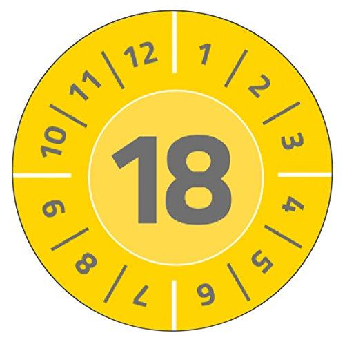 AVERY Zweckform 6939 duurzame jaar-testplaketten 2018 (sterk zelfklevend, klein formaat, Ø 20 mm, 120 stickers op 8 vellen) geel