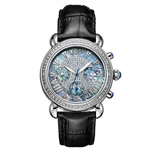JBW Luxury Women's Victory 0.16 Carat Diamond Wrist Watch with Leather Bracelet