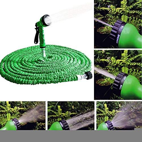 Hanks 'Shop. Bewässerung Gartenschlauch mit Spritzpistole, Wasser-Spritzpistole Teleskoprohr Set2.5m -7.5m, Magie Flexible Gärten (Color : Green)