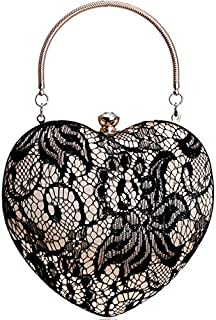 TOOGOO Lace Luxurious Women Heart Evening Bags Hollow Out Design Rhinestones Clutches Chain Shoulder Purse Handbags(Gold)
