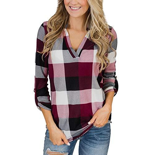 ZODOF Mujer Camiseta Roll Up Manga Larga con Cuello en V botn de Tela Escocesa impresin Bolsillo Blusa Top Camisetas Manga Larga Solapa Camisa,Chica Casual Blusa Solapa Camisetas