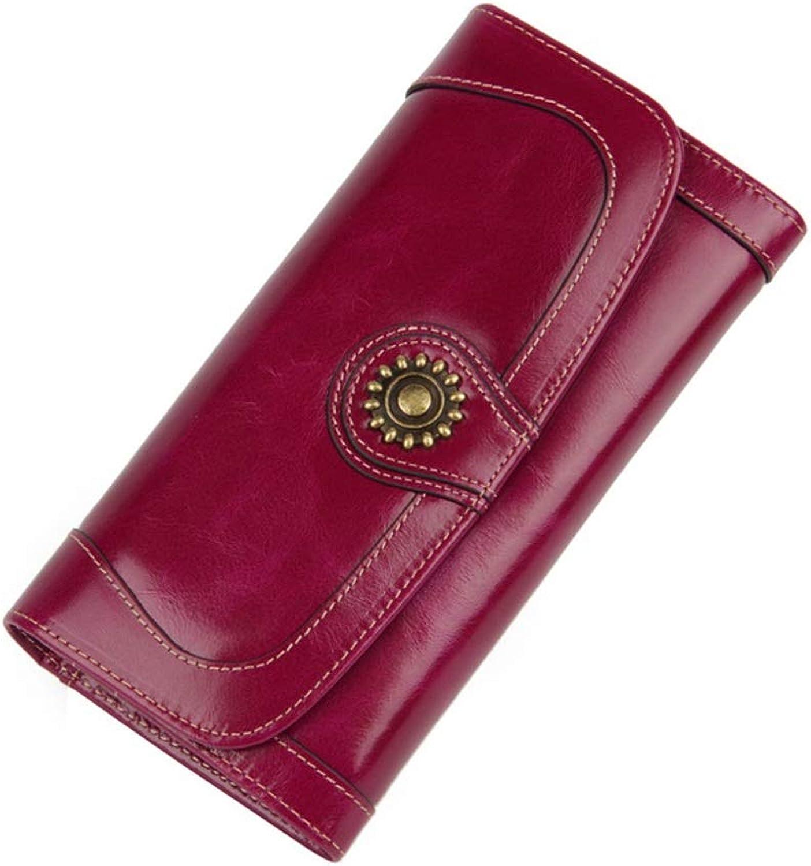 Women's Blocking Large Capacity Wallet Women's Leather Wallet Wallet Leather Zip Around Phone Clutch Large Travel Purse Wristlet Mobile Phone Bag Card Holder Organizer Ladies Purse (color   Purple)