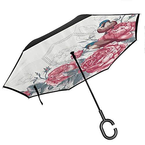 Romantic Upside Down Umbrella with C-Shaped Handle Vintage Country Sparrows Birds with Roses and Leaves Artwork Print Light Pink and Silver