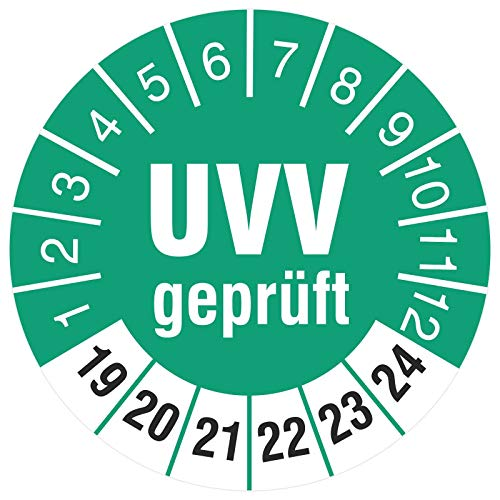 100 Stück UVV geprüft 30 mm Prüfplaketten Prüfetiketten Prüfaufkleber türkis 2019-2024