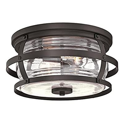 Westinghouse Lighting Weatherby Two-Light Flush-Mount, Weathered Bronze Finish with Clear Glass Outdoor Ceiling Fixture