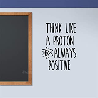 Wall Stickers,Art Decal Decor Think Like A Proton Atom Classroom Removable Science Wall Always Positive Motivation Decals 57x78cm