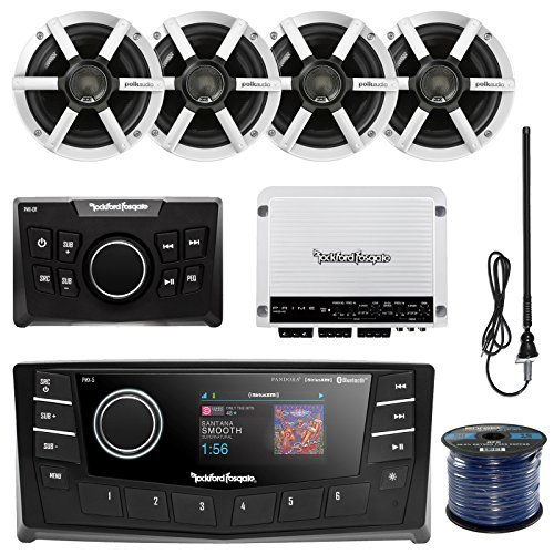 "Rockford PMX-5 Punch Marine Oversized 2.7"" DIN AM/FM Bluetooth Receiver Bundle Combo W/Wired Remote Control + 4X Polk Audio 6.5"" Inch Speakers + Enrock Radio Antenna + 50Ft Wire (with Amplifier)"