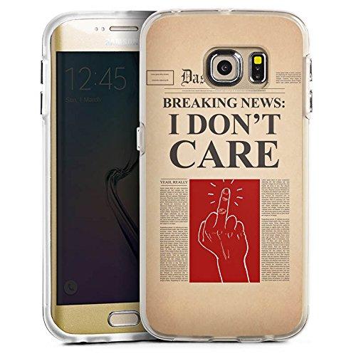 DeinDesign Samsung Galaxy S6 Edge Bumper Hülle Bumper Case Schutzhülle News Spruch Egal