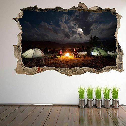 3D Wandaufkleber Lagerfeuer Camping Zelte Bewölkter Himmel Wandkunst Aufkleber Wandbild Aufkleber Wohnkultur ER14 Kunstplakat