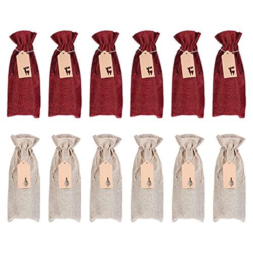 TOPBATHY 1 juego de 12 bolsas de vino de lino con cordón para regalo de vino (color surtido)