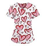 VEMOW Camisetas de Manga Corta para Mujer, Tops de Mujer Uniforme Mariposa Impresa de Trabajo Uniforme Camisetas con Cuello en V, Uniforme Blusa de Trabajo, Camuflaje para Mujeres(D2,XXL)