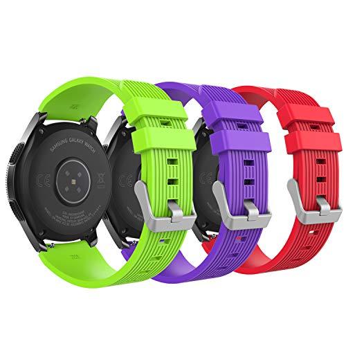 MoKo Pulsera para Samsung Galaxy Watch 46mm/S3 Frontier/Gear S3 Classic/Huawei Watch GT 2e/Ticwatch Pro/Huawei Watch GT 46mm/Huawei Watch GT 2 46mm, 22MM Pulsera - Rojo & Verde & Morado