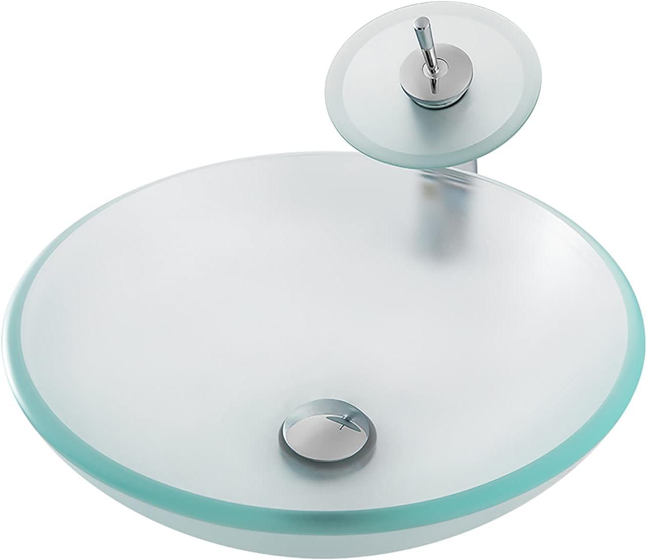 WXDL Lavabo sobre Encimera, Lavabo Cristal Templado Lavamanos de Baño con Grifo de Cascada y Desagüe Emergente Vidrio Templado Lavabo, Vidrio Transparente Esmerilado,Round