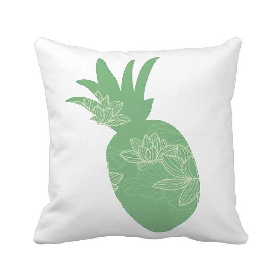 プログレッシブバング材料ロータスフラワーラインの花の植物 パイナップル枕カバー正方形を投げる 50cm x 50cm