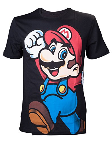 Bioworld Nintendo Herren T-Shirt Super Mario Mehrfarbig (Schwarz)- Medium