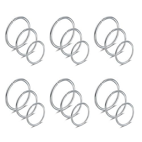 Ruifan 18PCS 22G Mix Size Stainless Steel Clip on Fake Nose Lip Helix Cartilage Tragus Ear Hoop Ring 6mm 8mm 10mm - Silver