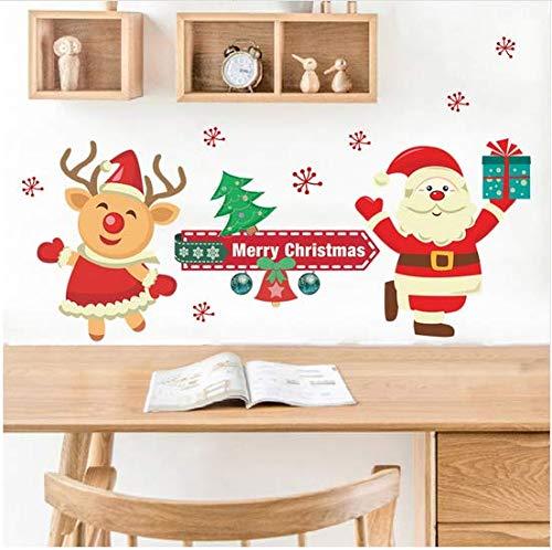 Newberli Dibujos Animados De Navidad Papá Noel Pegatinas De Pared Sala De Estar Comedor Ventana De Cristal Decoración Para El Hogar Extraíble Diy Calcomanías De Vinilo Arte Murales De Pared Navidad