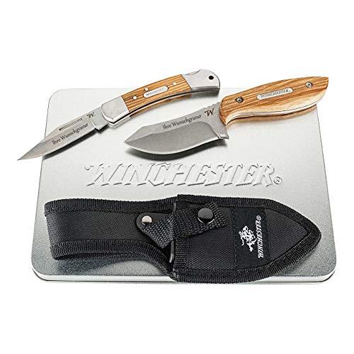 Winchester Messer-Set Taschenmesser Lasso, Back Lock, Gürtelmesser BARRENS, Stahl 7Cr17MoV, Metallbox (mit Gravur, M)