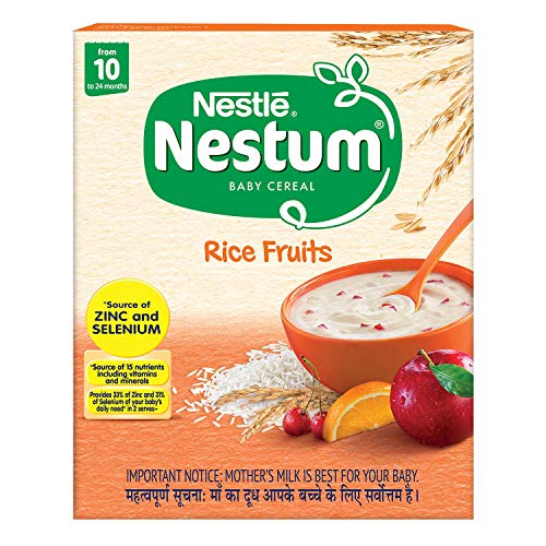Nestle Nestum Baby Cereal From 10 To 24 Months, Rice Fruits, 300g Bag-in-Box Pack