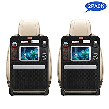 AEMIAO 2 Pack Kick Mats Car Organisers Waterproof Seat Back Protectors with 10.1  iPad / Tablet Holder - Multipurpose Auto Seat Back Cover - Universal Fit for Car, Truck, SUV,or Van Seats