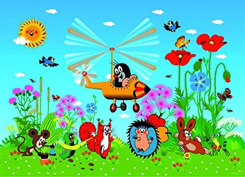 1art1 Der Kleine Maulwurf - Mole and His Plane Vlies Wand-Foto-Poster-Tapete | Moderne Dekoration Wand-Deko Wohnzimmer Schlafzimmer Büro Flur 160 x 110 cm