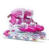 Patines en línea ajustables para niños y niñas principiantes, patines con rueda luminosa LED, seguros y duraderos para niños y adultos