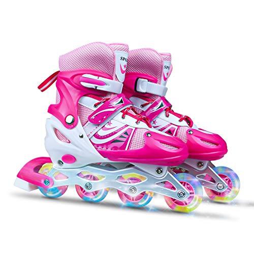 Verstellbar Inline Skates für Jungen Mädchen Anfänger,Rollschuhe mit LED leuchtendem Rad Sicher und langlebig für Kinder und Erwachsene