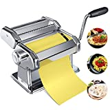 Pasta Maker Machine, Homemade Stainless Steel Manual Roller Pasta Maker With Adjustable Thickness...