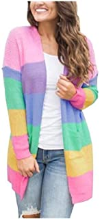 Howely Womens Pocketed Rainbow Long Sleeve Knit Cardigan Sweater
