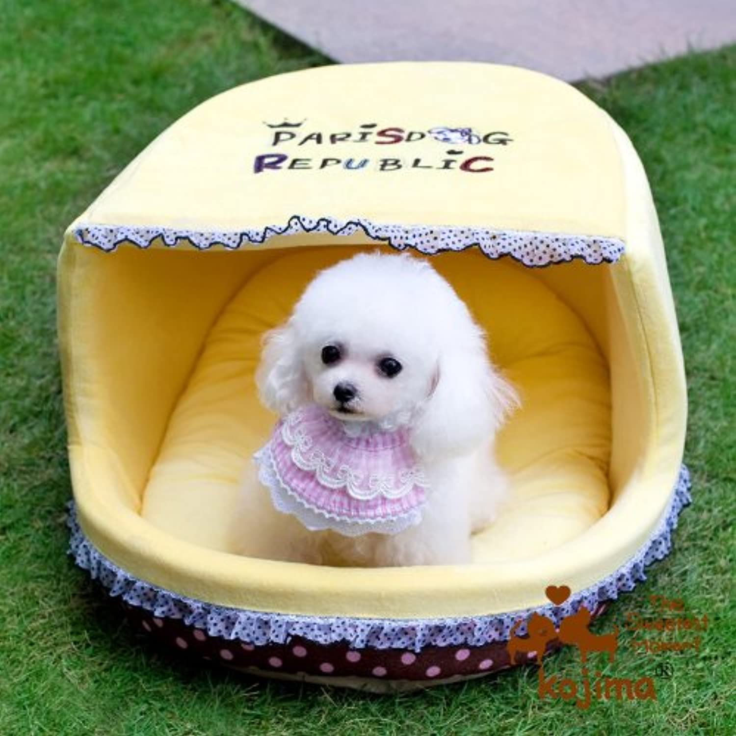 Flat Roof Pet House Bed Lovable Slipper Dog Bed, 20  x 16  x 12  (Yellow)