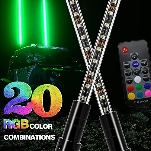 6ft Lighted Spiral LED Whip Antenna w//Flag /& Remote for ATV Polaris RZR UTV