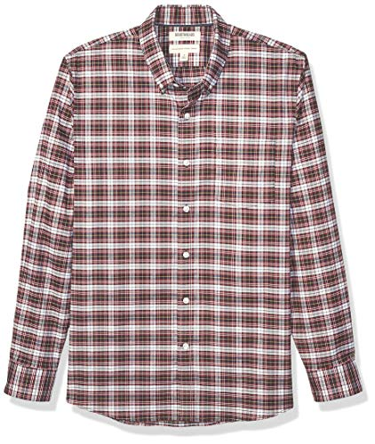 Goodthreads Standard-Fit Long-Sleeve Stretch Oxford (All Hours) button-down-shirts, Red White Check, X-Small