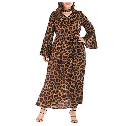 CMOM - Vestido de manga larga para mujer, talla grande, estampado de leopardo, para mujer