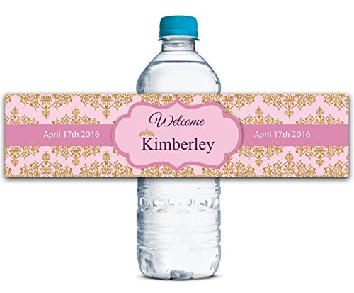 """Custom Wedding Water Bottle Labels Waterproof Crown Theme Self Adhesive Sticker 8"""" x 2"""" Inches - 50 Labels"""