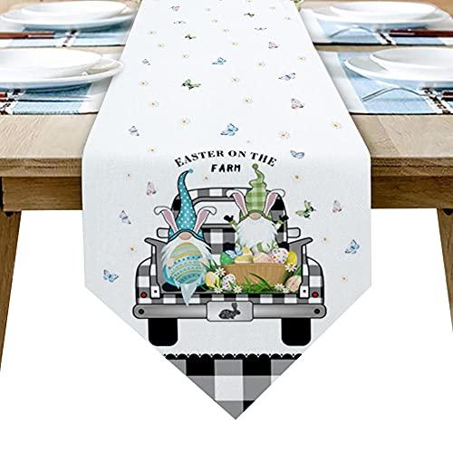 QAZQAZ Camino de Mesa a Cuadros de camión de Huevos de gnomo de Pascua para Comedor en casa Mesa de té Cubierta de gabinete de Zapatos Bandera de Mesa Decoración de Fiesta de boda-33x274cm