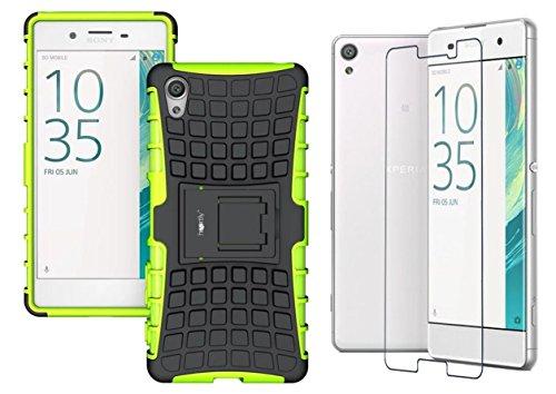 Heartly Flip Kick Stand Spider Hard Dual Rugged Armor Bumper Back Case with Protective 2.5D 0.3mm Pro Tempered Glass for Sony Xperia X - Great Green