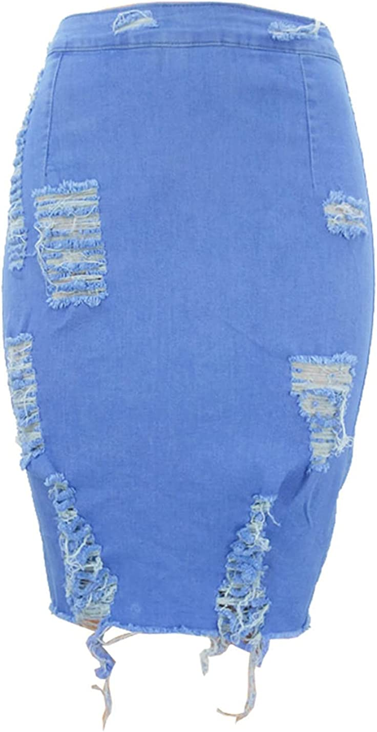 IKIIO Women's Casual Bodycon High Waisted Distressed Destroyed Denim Skirt A Line Skirts