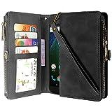 Linkertech Moto G5 Plus Case, Moto G Plus (5th Gen) Case, Premium Leather Flip Zipper Wallet Case Cover with Card Holder and Wrist Strap for Moto G Plus (5th Gen) (Zipper Black)