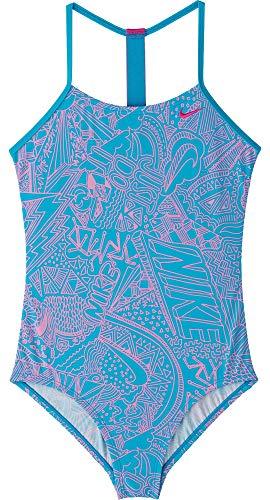 Nike Mädchen Doodle Einteiler Badeanzug (Light Blue Fury, L)