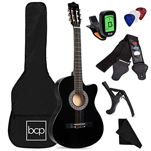Best Choice Products Beginner Acoustic Guitar Starter Set 38in w/Case, All Wood Cutaway Design, Strap, Picks, Tuner - Black