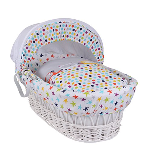 Clair de Lune The Dudes White Wicker Moses Basket inc. Bedding, Mattress & Adjustable Hood (Grey/Brights)