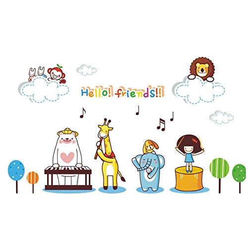 Winhappyhome Cute Animals Band Stickers Muraux pour Chambre D'Enfants Nursery Kindergarten Fond Amovible Decor Art Stickers