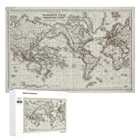 INOV ヴィンテージ 世界 電線地図(1855年) ジグソーパズル 木製パズル 1000ピース インテリア 集中力 75cm*50cm 楽しい ギフト プレゼント